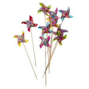 10 Paper Wind Mill Sticks with Rose and Star print