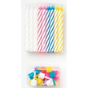 18 Assorted Colour Candles with holders