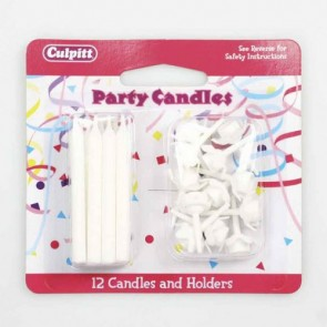 White Candles with Holders