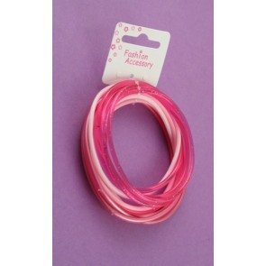 Pink Gummy Bangle Bracelet Set