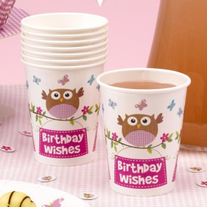 Little Owl Girl Birthday Wishes Party Cups