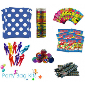 Party Bag Kit for Boys Option 2 - Blue and White Polkadot Bag