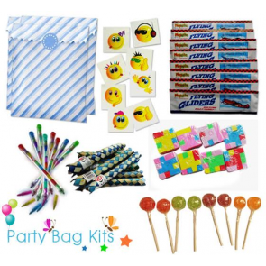 Party Bag Kit for Boys Option 1 - Blue and White Stripe Bag