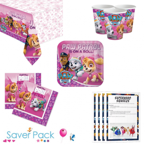 Pink Paw Patrol Party Tableware Saver Pack