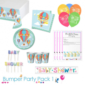Up Up and Away Baby Shower Party Tableware Bumper Pack 1